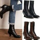 Vintage Womens Ankle Boots Lace Up Shoes Glass Heel Pointed Toe High Top Retro