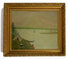AMERICAN FOLK ART Painting NATIVE AMERICAN HUDSON RIVER SCHOOL Antique