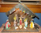 OLD VINTAGE ITALY LIGHTED NATIVITY SCENE CRECHE WOOD STABLE MANGER 10 FIGURINES
