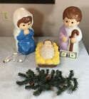 Vintage Empire Nativity Mary Joseph Baby Jesus + Lights 1996 Blow Mold 6083