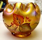 Fenton Hand Painted Marigold Carnival Glass Rose Bowl Votive Leaves and Berries