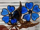 Vintage Blue French Gripoix Poured Glass Flower Bouquet Pin