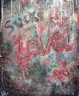 Modernist LARGE ABSTRACT PAINTING Expressionist GRAFFITI ART LOVE SUCKS FOLTZ