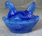Boyd Glass Chick Salt Hen on Nest Peacock Blue Swirl 166