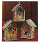 Set of 3 Nativity Scene Cut Out LED Light up 5 inch Wood Carved Christmas Orname