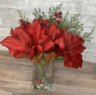 Pottery Barn Faux Flower Amaryllis Composed Potted Arrangement Red