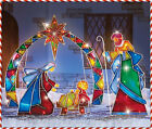 4 PC Lighted Mosaic Nativity Scene Joseph Mary Jesus Outdoor Christmas Holiday