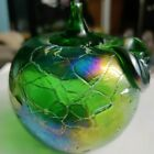 Vintage  Carnival Iridescent Green Apple Glass Paperweight Crackle