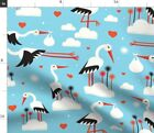 Stork Storks Baby Shower Birth Clouds Hearts Spoonflower Fabric by the Yard