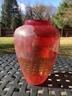 MURANO GLASS VASE ARTIST SIGNED HAND BLOWN SILVER  GOLD ACCENTS