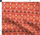 Red Tribal Geometry Indian Ethnic Native Aztec Spoonflower Fabric by the Yard
