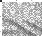 Ikat Damask Gray Home Silver Abstract Victorian Spoonflower Fabric By The Yard