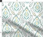 Soft Ikat Damask Home Yellow Gray Modern Blue Spoonflower Fabric By The Yard