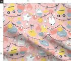 Pink Baby Bear Kids Stork Babies Birth Spoonflower Fabric by the Yard
