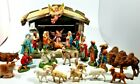 VINTAGE CHRISTMAS NATIVITY MANGER SET 28 FIGURINES MADE IN ITALY