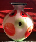 Vintage Murano Large Millefiori Hand Blown Rose Pink Glass Vase Signed 12 Tall