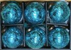 PEACOCK BLUE CRACKLE MERCURY GLASS KUGEL STYLE 3 CHRISTMAS ORNAMENTS SET 6