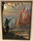 Vintage Native American Silhouette Curved Convex Glass Stage Coach Utah Rocks