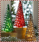 Vintage Look LED Lighted Mercury Glass Christmas Tree Tabletop Centerpiece Decor