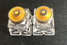 Vintage Small Glass Salt  Pepper Shakers Sterling Yellow gold Enamel Lid Norway