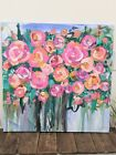 original acrylic and oil painting abstract floral painting Colorful flowers