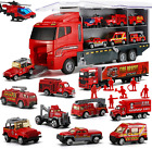 19 in 1 Fire Truck with Firefighter Toy Set Mini Die cast Fire Engine Car New