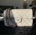 Chanel mini Light Pink Beige Iridescent Classic Quilted Flap Bag crossbody 255