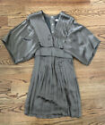 Stella McCartney khaki olive green pleated silk kimono dress 2 38 XS S