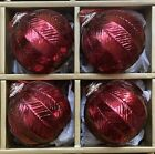 LARGE RED MERCURY GLASS RHINESTONE TOP 4 CHRISTMAS ORNAMENTS SET 4