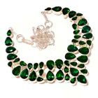 Green Diopside Glass Pear Gemstone Silver Overlay Handmade Statement Necklace