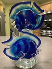 Vtg Murano Glass Sommerso Venetian Style Double Angel Sun Fish Blue Sculpture