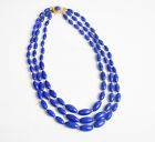 Vintage Midcentury 50s 60s Austrian Blue Glass Gold Beaded Multi Strand Necklace