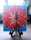 Stained Glass Red Flower Glass Panel ON SALE