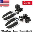 Motorcycle Chrome Highway Pegs Foot Pegs Mount Clamps For Harley Road King Dyna