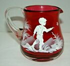 Vintage Mary Gregory Cranberry Glass Boy Chasing Bird Mini Pitcher Creamer 35