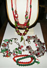 Lot 7 Vintage BLOWN GLASS CHRISTMAS HOLIDAY JEWELRY Necklaces  Bracelets EX