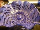 EXQUISITE 12 Lavender  Blue HAND BLOWN Wave Design FLUTED GLASS BOWL Best Gift