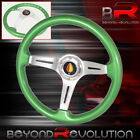 For Nissan Infinti Green Deep Dish Green Wood Steering Wheel Aluminum Center