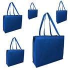 10 Shopping Bags Zipper Jumbo Grocery Tote Blue Reusable Eco Friendly Large Bag