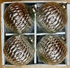 LARGE SILVER MERCURY GLASS HOBNAIL 4 CHRISTMAS ORNAMENTS SET 4
