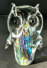 Vintage Gold Flecked Bullicante Murano Italy Art Glass Owl 4 1 2