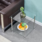 Modern 2 Tier Square Coffee Small Table Glass Top Sofa Side Table Decor Clear US