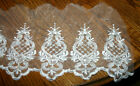White Organza Lace Trim Bridal Pearl Beaded Sequins 85 inch wide X 15 yd bolt