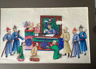 Antique Chinese Hand Painted Rice Pith Paper Court Scene 8 Characters