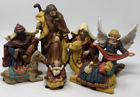 Vintage 7 Piece Large Detailed Crafted Set Ceramic Nativity Figurines Christmas