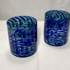 Studio Blown Glass Tumblers Flame Run LouisvIlle Blue Green Swirls 2016 Set Of 2