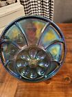VINTAGE INDIANA BLUE CARNIVAL GLASS DEVILED EGG  RELISH PLATE PLATTER EXC COND