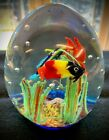 Beautiful Multi Colored Art Glass 3 Fish Tank Aquarium Paperweight Murano