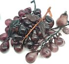 Beautiful Art Glass Vintage Blown Glass Grapes 3 Bunches W 3 Matching Fruits