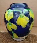 Art Glass Cobalt Blue Vase With Yellow Sweet Pea Flowers
